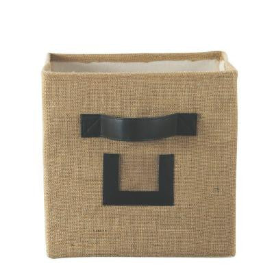 10.75 in. W x 11 in. H Burlap Natural Fabric Storage Bin with Handle