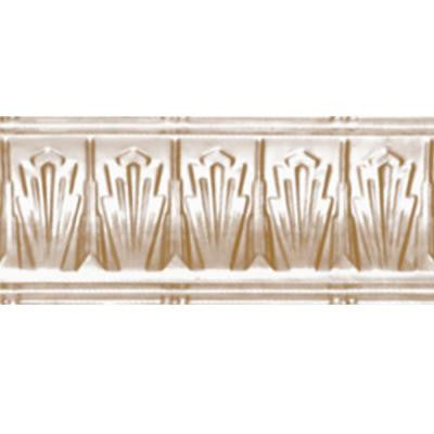 4 in. x 4 ft. x 4 in. Satin Brass Nail-up/Direct Application Tin Ceiling Cornice (6-Pack)