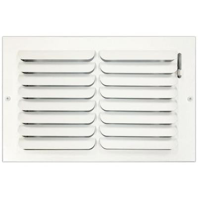 8 in. x 12 in. Ceiling or Wall Register with Curved Single Deflection, White