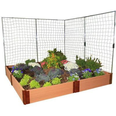 One Inch Series 8 ft. x 8 ft. x 11 in. Composite Raised Garden Bed Kit with 2 Veggie Walls