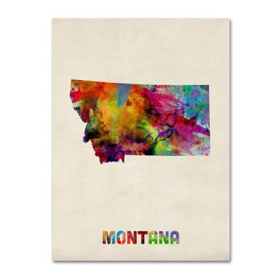 35 in. x 47 in. Montana Map Canvas Art