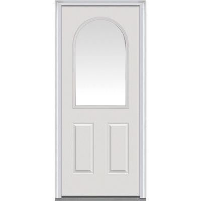 36 in. x 80 in. Classic Clear Glass 1/2 Arch Lite 2-Panel Primed White Fiberglass Smooth Prehung Front Door
