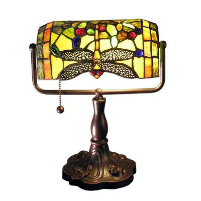 Warehouse of Tiffany Stella 12 in. Bronze Indoor Accent Desk Lamp with Green Dragonfly Shade