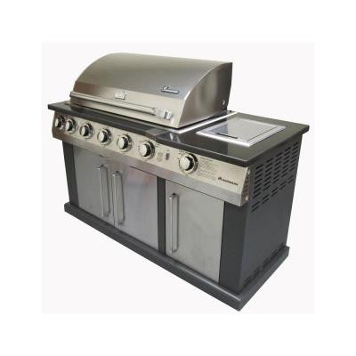 7-Burner Propane Gas Grill in Stainless Steel and Black with Black Granite Top
