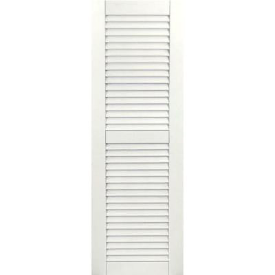 15 in. x 52 in. Exterior Composite Wood Louvered Shutters Pair White