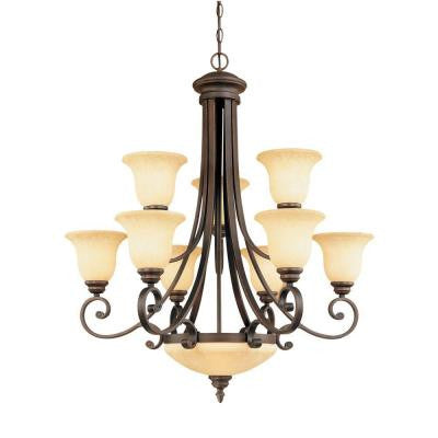 11-Light Rubbed Bronze Chandelier with Turinian Scavo Glass