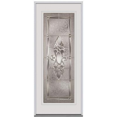 34 in. x 80 in. Heirloom Master Decorative Glass Full Lite Primed White Steel Replacement Prehung Front Door