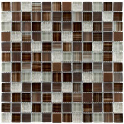Tessera Square Truffle 11-3/4 in. x 11-3/4 in. x 8 mm Glass and Metal Mosaic Wall Tile