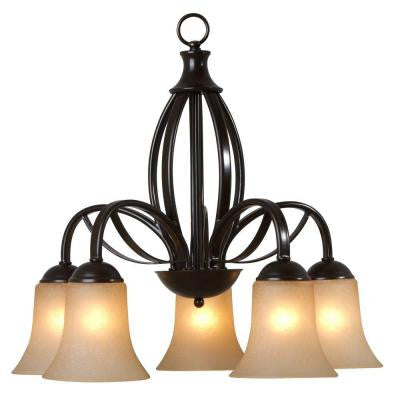 Tioga Pass Collection 5-Light Oil Rubbed Bronze Hanging Chandelier with Amber Scavo Glass Shade