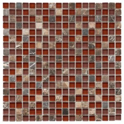 Tessera Mini Bordeaux 11-3/4 in. x 11-3/4 in. x 8 mm Glass and Stone Mosaic Wall Tile