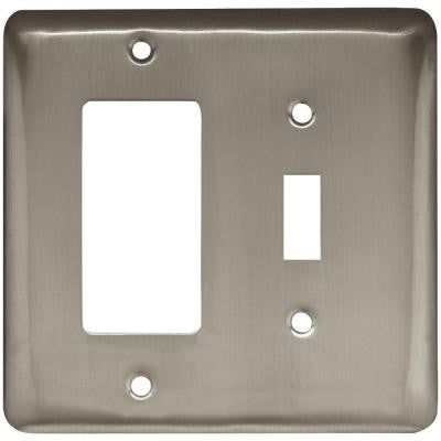 Stamped Round 1 Toggle and 1 Rocker Wall Plate - Satin Nickel