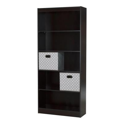 Axess 5-Shelf Bookcase in Chocolate