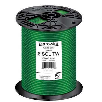 500 ft. 8/1 Solid TW Wire - Green