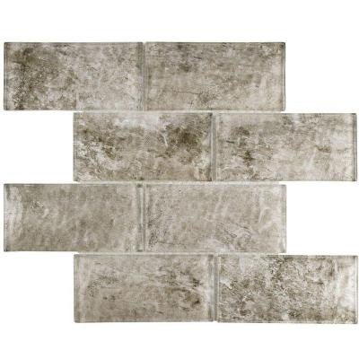 Igloo Convex Subway Smoke 11-5/8 in. x 11-7/8 in. x 12 mm Glass Mosaic Tile