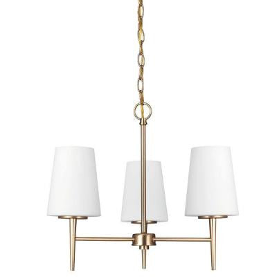 Driscoll 3-Light Satin Bronze Fluorescent Chandelier with Inside White Painted Etched Glass