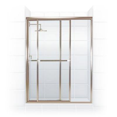 Paragon Series 44 in. x 68 in. Framed Sliding Shower Door with Towel Bar in Brushed Nickel and Clear Glass