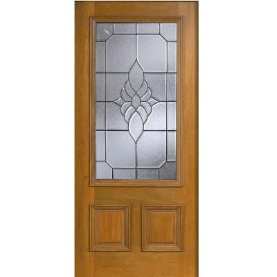 36 in. x 80 in. Mahogany Type 3/4 Glass Prefinished Golden Oak Beveled Patina Solid Wood Front Door Slab