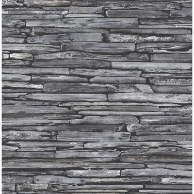 8 in. W x 10 in. H Charcoal Stacked Slate Industrial Wallpaper Sample