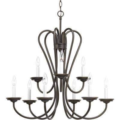 Heart Collection 9-Light Antique Bronze Chandelier