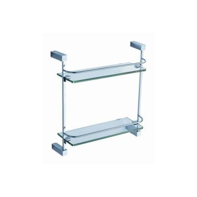 Ottimo 15 in. W 2-Tier Glass Shelf in Chrome