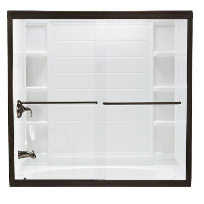 Finesse 59-5/8 in. x 58-1/16 in. Semi-Framed Sliding Shower Door in Deep Bronze with Smooth Clear Glass Texture