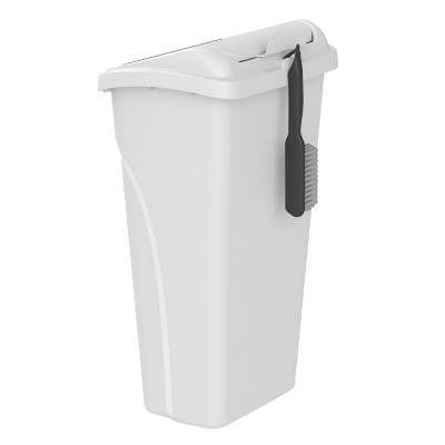 10 Gal. All in 1 White Wastebasket with Dustpan Lid and Brush