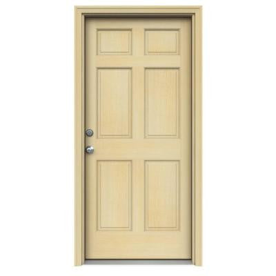 36 in. x 80 in. Authentic Wood 6-Panel Unfinished Hemlock Prehung Front Door w/ Unfinished AuraLast Jamb & Brickmould