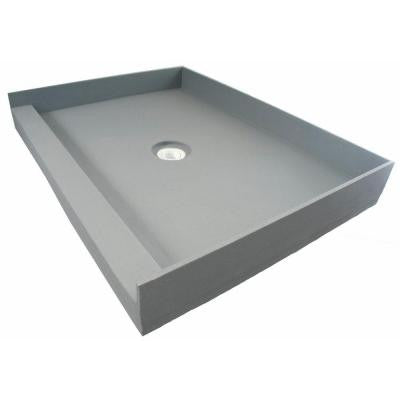 Fin Pan PreFormed 42 in. x 42 in. Single Threshold Shower Base in Gray with Center Drain