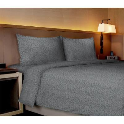 Willow Collection Vines Gray King Sheet Set (4-Piece)