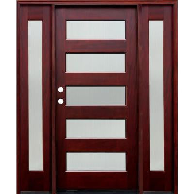 70 in. x 80 in. Contemporary 5 Lite Reed Stained Mahogany Wood Prehung Front Door w/6 in. Wall Series & 12 in. Sidelites