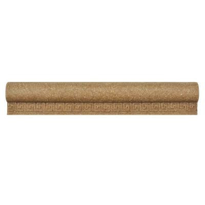 Contempo Greek Key Noce Travertine Chair Rail 1-1/5 in. x 8 in. Wall Trim Tile