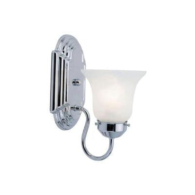 1-Light Chrome Bath Light with White Alabaster Glass