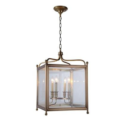 Oxford 4-Light Burnish Brass Pendant Lamp
