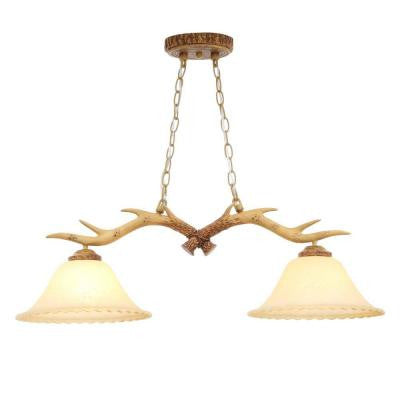 2-Light Natural Antler Island Light