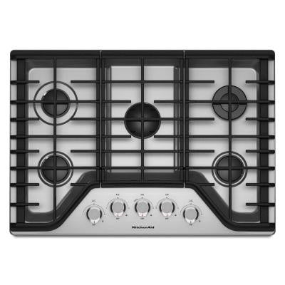 30 in. Gas Cooktop in Stainless Steel with 5 Burners including a Multiflame Dual Tier Burner and a Simmer Burner