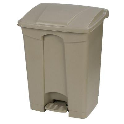 18 Gal. Beige Rectangular Touchless Step-On Trash Can with Matching Lid