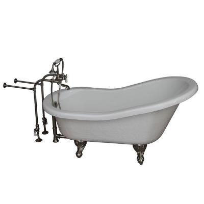 5.6 ft. Acrylic Ball and Claw Feet Slipper Tub in White with Brushed Nickel