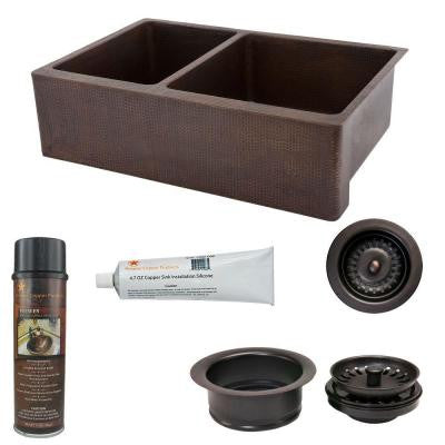 Undermount Hammered Copper 33 in. 0-Hole 25/75 Double Bowl Kitchen Sink and Drain in Oil Rubbed Bronze