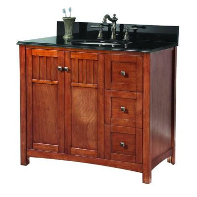 Knoxville 37 in. W x 22 in. D Vanity in Nutmeg with Granite Vanity Top in Black