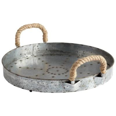 Prospect 5.5 in. x 16.5 in. Raw Steel Rope Handle Tray