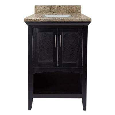 Brattleby 25 in. W x 22 in. D Vanity in Espresso with Granite Vanity Top in Giallo Ornamental with White Basin