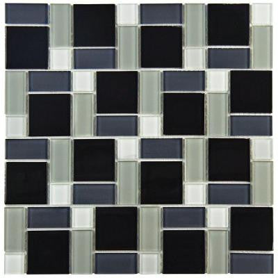 Spectrum Block Black and White 11-3/4 in. x 11-3/4 in. x 5 mm Glass Mosaic Wall Tile