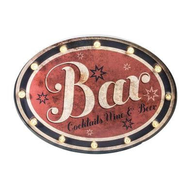 24.75 in. L Oval Lighted Metal Bar Sign
