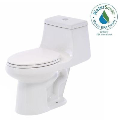 1-piece 1.1 GPF/ 1.6 GPF High Efficiency Dual Flush Elongated Toilet in White