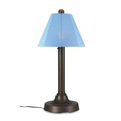 San Juan 30 in. Outdoor Bronze Table Lamp with Sky Blue Shade