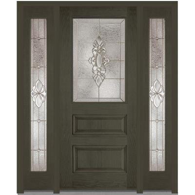 60 in. x 80 in. Heirloom Master Decorative Glass 1/2 Lite Finished Oak Fiberglass Prehung Front Door with Sidelites