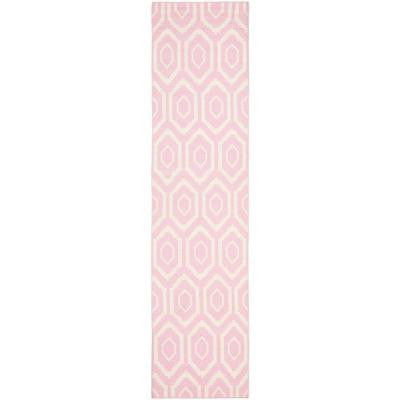 Dhurries Pink/Ivory 2 ft. 6 in. x 6 ft. Rug Runner