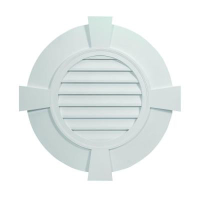 38 in. x 38 in. x 2-3/8 in. Polyurethane Decorative Round Louver with Flat Trim and Flat Keystones