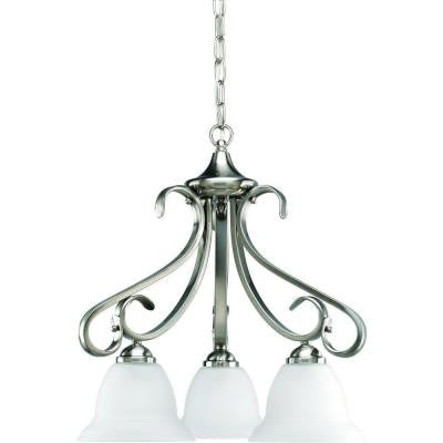 Torino Collection 3-Light Brushed Nickel Chandelier