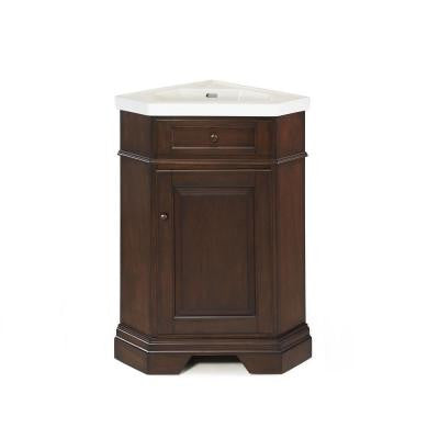 Richmond 26 in. Vanity in Mahogany with Vitreous China Vanity Top in White with White Basin